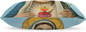 "GSRONY Home Decoration Pillow Cover Jesus Catholic Christian Religious Gift Holy Miraculous Virgin Mary Soft Pillow Case Pillow Sham for Bed/Sofa/Couch/Car 20""x30"""