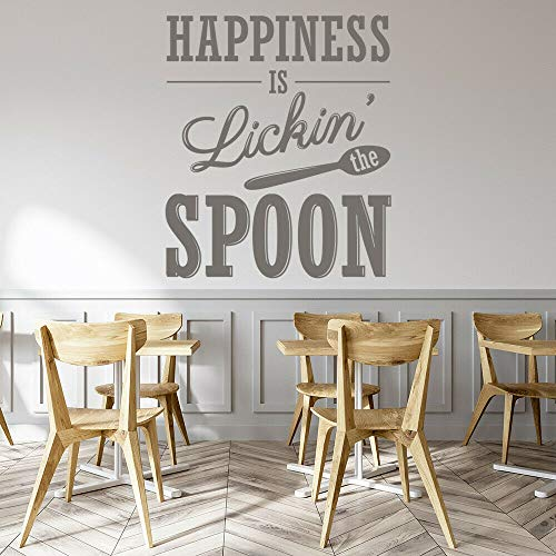 Calcomanía de pared de cocina, cuchara para lamer feliz, ventana de comida, pegatinas de vinilo, restaurante, comedor, decoración interior