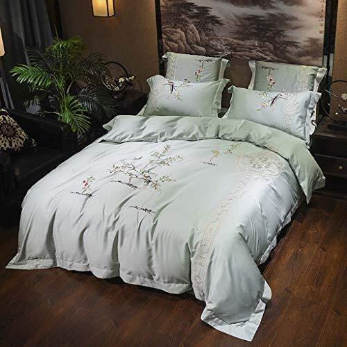 YONGYONGCHONG Set langfaserige Baumwolle Zip Bettbezug Rundbögen Umschlag Pillowcase Mit Corner Gürtel Decke (Color : T1, Size : 1.5m(5ft) Bed)