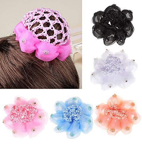 UTENEW Girls Bun Covers Snood Ballet Dance Hair Net Accessories 5 Pack Knit Mesh Fabric Rhinestone Women's Hair Bun Cover