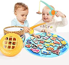 TOP BRIGHT Toddler Fishing Game Magnetic, Montessori Preschool Toys for 2 Year Old Girl Boy, Gifts for Educational Learning, Easy Storage & Portable Board Games Wooden Toy