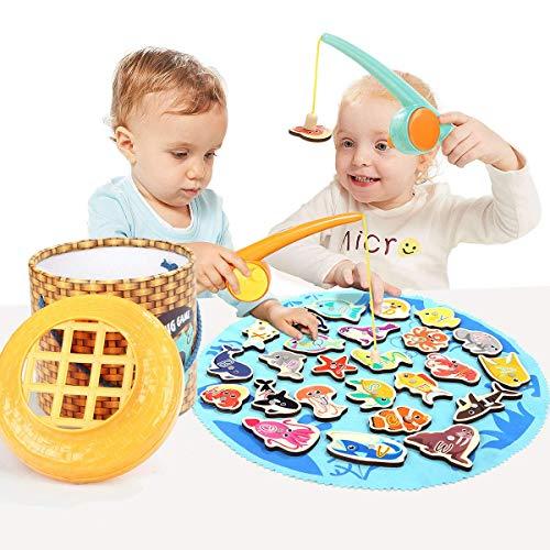 TOP BRIGHT Magnetisches Angelspiel aus Holz Kleinkindspielzeug Motorikspielzeug ab 1 Jahre Alte