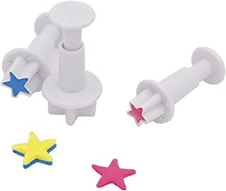 Gobaker Star Fondant Plunger Cutter Set Sugarcraft Cake Cookies Cupcake Decorating Tool DIY Mold, 3-Pack