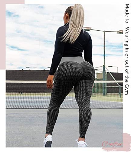 COMFREE Leggings Mujer Mallas Deportivos Leggins Push Up Leguins Yoga Legins Deporte Fitness Pantalones Pantalón Cintura Alta Control de Barriga Transpirables el Panal Negro M