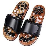 DFFH Chaussons de massage pour les pieds pour homme et femme avec des chaussures de douche en pavés naturels, noir, blanc et noir, XXL