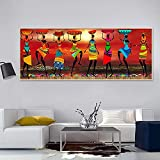 Donne africane che ballano dipinti ad olio Immagini Poster e stampe Arte tribale etnica africana per la decorazione del soggiorno domestico 60x180 CM (sans cadre)