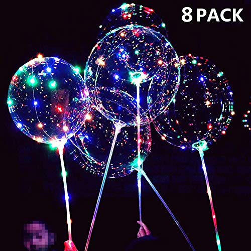 LED Light Up Bobo Balloons,8 Packs Flashing Handles,20 Inches Bubble Bobo Balloons,70 cm Sticks,Christmas Birthday Party Decoration