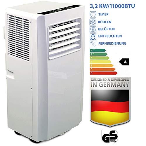 JUNG AIR TV05 mobiles Klimagerät mit Fernbedienung + Abluft-Schlauch - 3,2 KW/11000 BTU - STROMSPAREND, GERÄUSCHARM -100m³ Raum Kühlung, Klimaanlage mobil leise, weiß