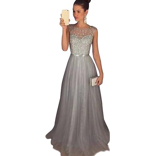 4bcb0a6e5dfd Jitong Donna Vestito Paillettes Lungo Senza Maniche Girocollo Abito da Sera  Matrimonio Vestiti da Cerimonia