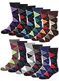 Falari Men Cotton Dress Socks, 12-pack Assorted Argyle,Socks Size 10-13 / Fits Shoe Size 6-10