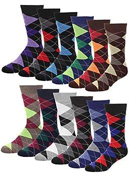 Falari Men Cotton Dress Socks 12-pack Assorted Argyle,Socks Size 10-13 / Fits Shoe Size 6-10