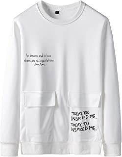 ESKNAS Men's Pullover Printing Patchwork O-Neck Long Sleeves Sport Top Blouse