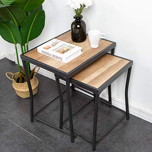 soges End Table Table Set of 2, Nesting Tables, Sofa Table Side/Coffee/Snack/Storage Table for Home, Living Room,Office, GCBZ1002-FJGS