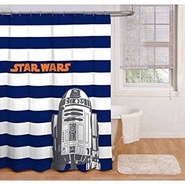 Boy Blue White Stripe Star Wars Peva Shower Curtain by iN.