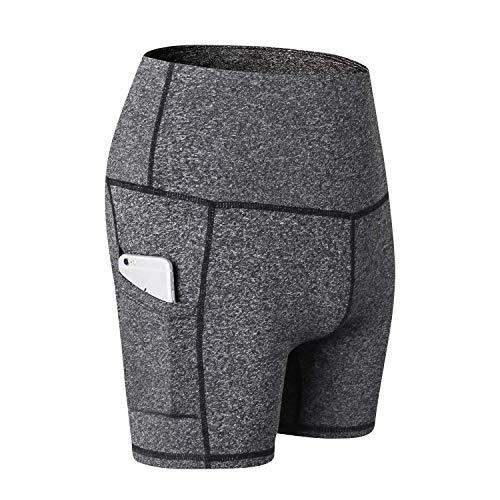 LANGBAO Pantalones cortos de deporte para mujer, para yoga, deporte, mallas de entrenamiento, cintura alta con bolsillos 10 cm gris oscuro M