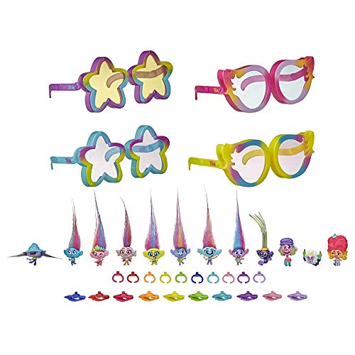 Trolls DreamWorks World Tour Tiny Dancers Rainbow Edition Pack with 12 Tiny Dancers Figures, 4 Sunglasses, 10 Small Rings, 10 Barrettes, Toy for Kids 4 and Up (Amazon Exclusive)