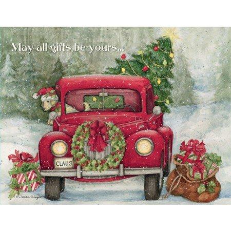 "LANG - Boxed Christmas Cards -""Santa's Truck"" Artwork by Susan Winget - 18 Cards, 19 Envelopes - 5"" x 7"""