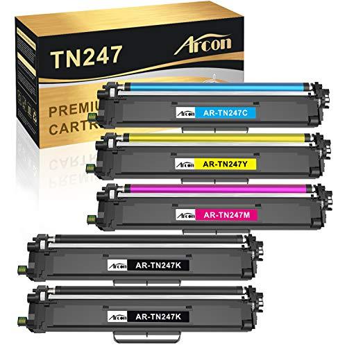 Arcon Kompatibel Tonerkartusche als Ersatz für Brother TN247 TN-243CMYK Brother MFC-L3750CDW MFC-L3770CDW MFC-L3710CW HL-L3210CW HL-L3230CDW DCP-L3550CDW Toner (Schwarz,Cyan,Gelb,Magenta, 5er-Pack)