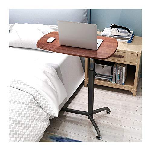 WERTYU Laptoptisch Höhenverstellbarer Beistelltisch Mit Rollen,für Büro Schlafzimmer Überbetttisch mit Rolle (Color : Red Walnut)