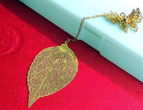 Amupper, segnalibro artistico in metallo dorato a forma di foglia con farfalla, segnalibro in stile kawaii, accessorio per l'ufficio da regalare, articolo di cancelleria