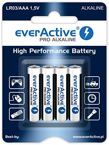 everActive AAA Batterien 4er Pack, Pro Alkaline, Micro LR03 R03 1.5V, höchster Leistung, 10 Jahre Haltbarkeit, 4 Stück – 1 Blisterkarte
