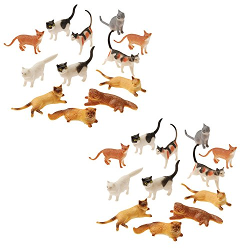 UST Plastic Cat Figures 24 Count - 2 Assorted Styles - 2 Packs of 12 Each