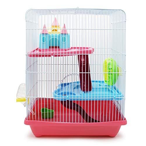 BPS BPS-1340 Cage pour hamster avec maison, tunnel et...