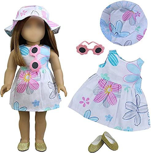 ZITA ELEMENT 4 Stück Puppe Kleidung Puppenkleider Blumenkleid Hut Sonnenbrille Schuhe für American 18 Zoll Girl Doll 43 45-46cm Puppen Sommer Urlaub Zubehör Spielzeug Strand Outfits Dress Set