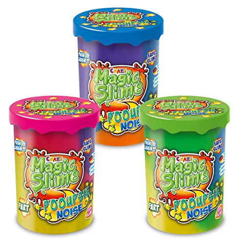CRAZE Magic Slime POOUPSIE Noise XL Set Dickflüssiger Pups Schleim 3X 100 g Kinderschleim, 31049
