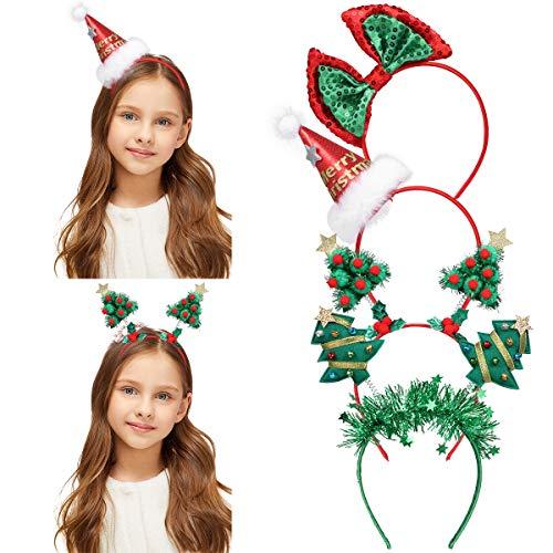 Frcolor, fascia per capelli natalizia, cappello da Babbo Natale con lustrini, fiocchi per feste per bambini e adulti