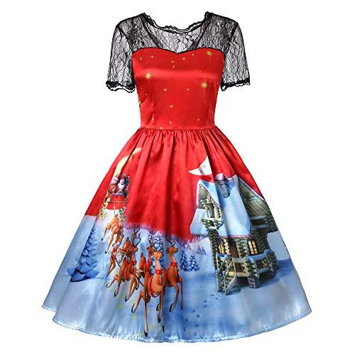 kaifongfu Women Short Sleeve Dress Printing Vintage Gown Party Ladies Dress(B-Red,S)