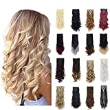 ZAIQUN 24 Inch 7 Pcs 16 Clips Clip in Hair Extensions Long Wavy Curly Full Head Hairpiece Double Weft Thick Natural(ash blonde mix bleach blonde)