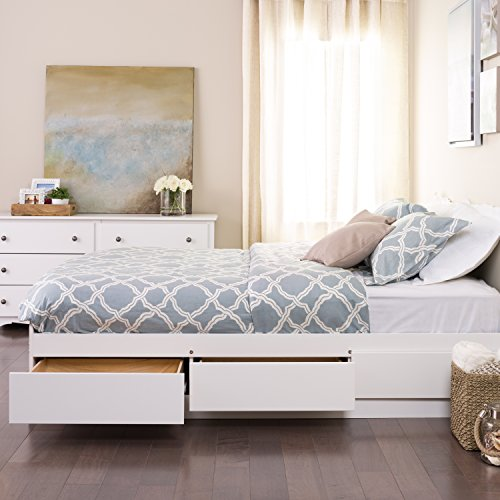 Prepac Mate's Platform Storage Bed with 6 Drawers, Queen, White