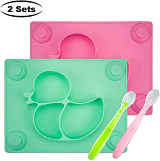 Baby Placemat with Baby Spoons(2 Sets) – 2X Silicone Baby Plates with Suction Cups..
