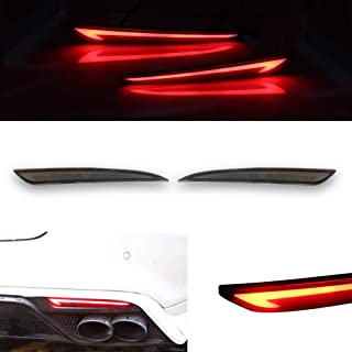 GTINTHEBOX Smoked Lens LED Rear Bumper Reflector Turn Signal Brake Tail Lights Lamps for 2014 2015 2016 2017 2018 Ford Fusion Mondeo