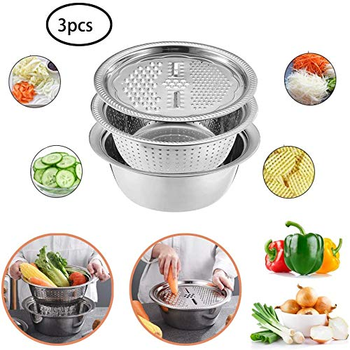 HRLYL Multifunctional Stainless Steel Basin Set, Kitchen Graters Cheese Grater, Large Capacity, Easy to Clean,Multipurpose Julienne Grater for Vegetables Fruits Cheese Chocolate (Multicolor)