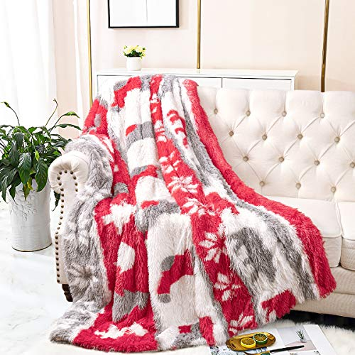 Merelax Plush Fuzzy Christmas Blanket for Home Decor Couch Bed Photo Props, Super Soft Shaggy Furry Long Fur Couch Throws, Washable Cozy Warm Sherpa Bed Blankets for Childs Adults-50x60 inch