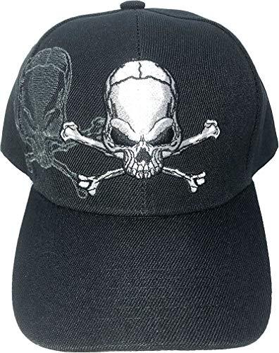 SunGal Cráneo y Bandera Gorra con Sombra, Gorra de béisbol 3D Bordado para Hombre (Negro)