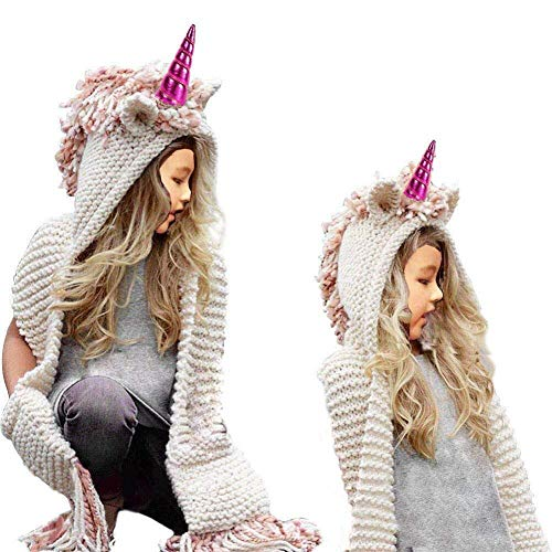 XIAOJIE Die Strickmütze der Dame Winter Beanie Child Baby Girls Boys Kids Cozy Unisex Fox Hat Hooded Scarf Earflap Knitted Wool Scarf Head Scarf Neck Warm Cap - Grey-E - Pink Unicorn(Rose Red Horn)