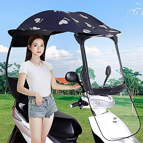 ALLWIN Toldo Eléctrico Impermeable para Motocicleta, Visera Solar De Movilidad Y Cubierta De Lluvia, Capota De Movilidad Plegable para Scooter Paraguas Universal para Scooter De Motor De Coch,Azul