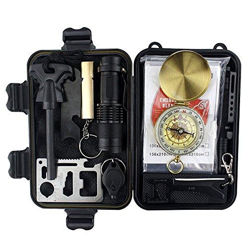 Notfall-Rettungspaket Kit Rettungs-Set, bestehend aus 9 Artikeln, geeignet für Camping-Wandern AXEMOORES