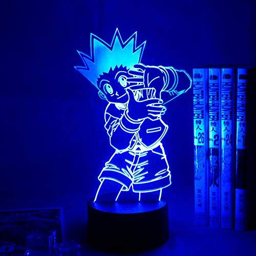 3D noche luz Gon Freecss figura 3D anime lámpara led con batería para dormitorio infantil decoración 3D lámparas anime Hunter X Hunter regalo ASQWZX