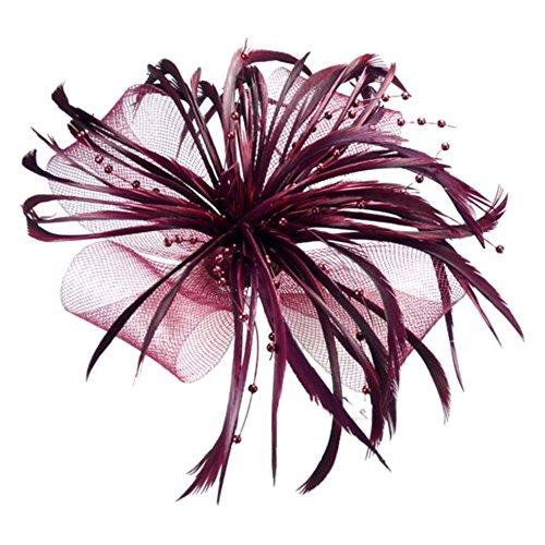 Bordeaux Net ARC et plumes Cheveux Clip Bec Corsage De Broche FascinateurNuptial