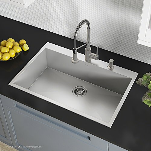 Kraus Pax Drop-in Stainless Steel 33 in. 4-hole Single Bowl Kitchen Sink