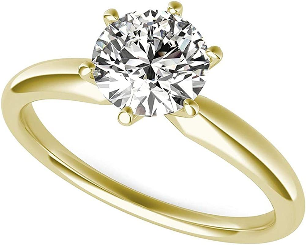 3.0 ct Brilliant Round Cut Solitaire Lab Created White Sapphire Ideal VVS1 D 6-prong Engagement Wedding Bridal Promise Anniversary Ring in Solid Real 14k Yellow Gold for Women
