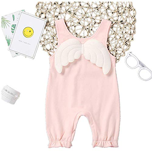 TJZY Little Girl Baby Bodysuit Angel Wings Romper Cotton Sleeveless Tops Casual Newborn Girls Jumpsuit Gift Adjustable Summer Clothes/Pink/Twelve / 18M