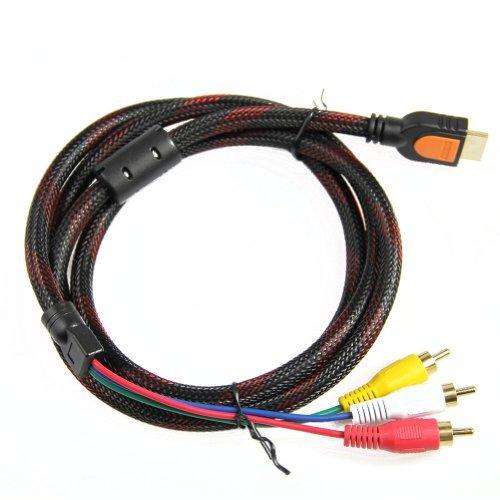 HDMI-zu-Cinch-Kabel, 1080P, HDMI-Stecker auf 3-RCA-Video-Audio-AV-Composite-Stecker, M/M-Stecker, Adapterkabel, Kabel-Transmitter (keine Signalumwandlungsfunktion), 1,5 m, HDMI auf 3-RCA-Adapterkabel