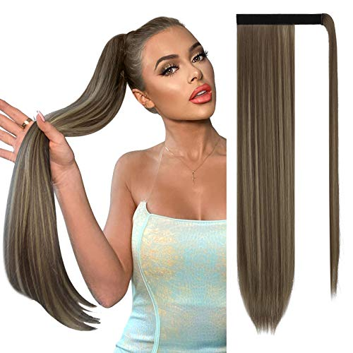 Sofeiyan Long Straight Ponytail Extension 26 inch Wrap Around Ponytail Synthetic Hair Extensions Clip in Ponytail Hairpiece for Women, Golden Brown & Light Blonde