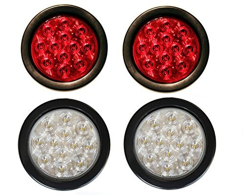 2 Red + 2 White 4 Round Led Stop Turn Tail Back-up Reverse Fog Lights Include Lights Grommet Plug for Truck Trailer RV - WE PAY YOUR SALES TAX
