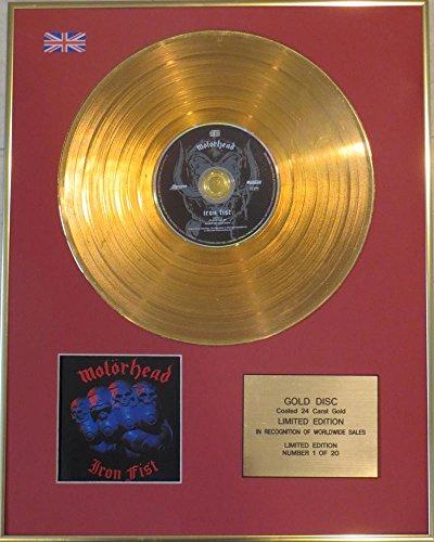 Motorhead–goldene Schallplatte, in limitierter Ausgabe, mit 24Karat Gold beschichtet–erhalten für das Album Iron Fist